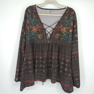Maurices Embroidered Flowy Ladder V Neck Blouse